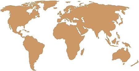 010 bianco 70 x 35cm Adesivo a forma di mappa del mondo