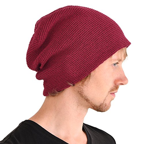 (CHARM Casualbox | Mesh Summer Beanie Light Cooling Breathing Hat Crochet Knit Fashion Deep Red)