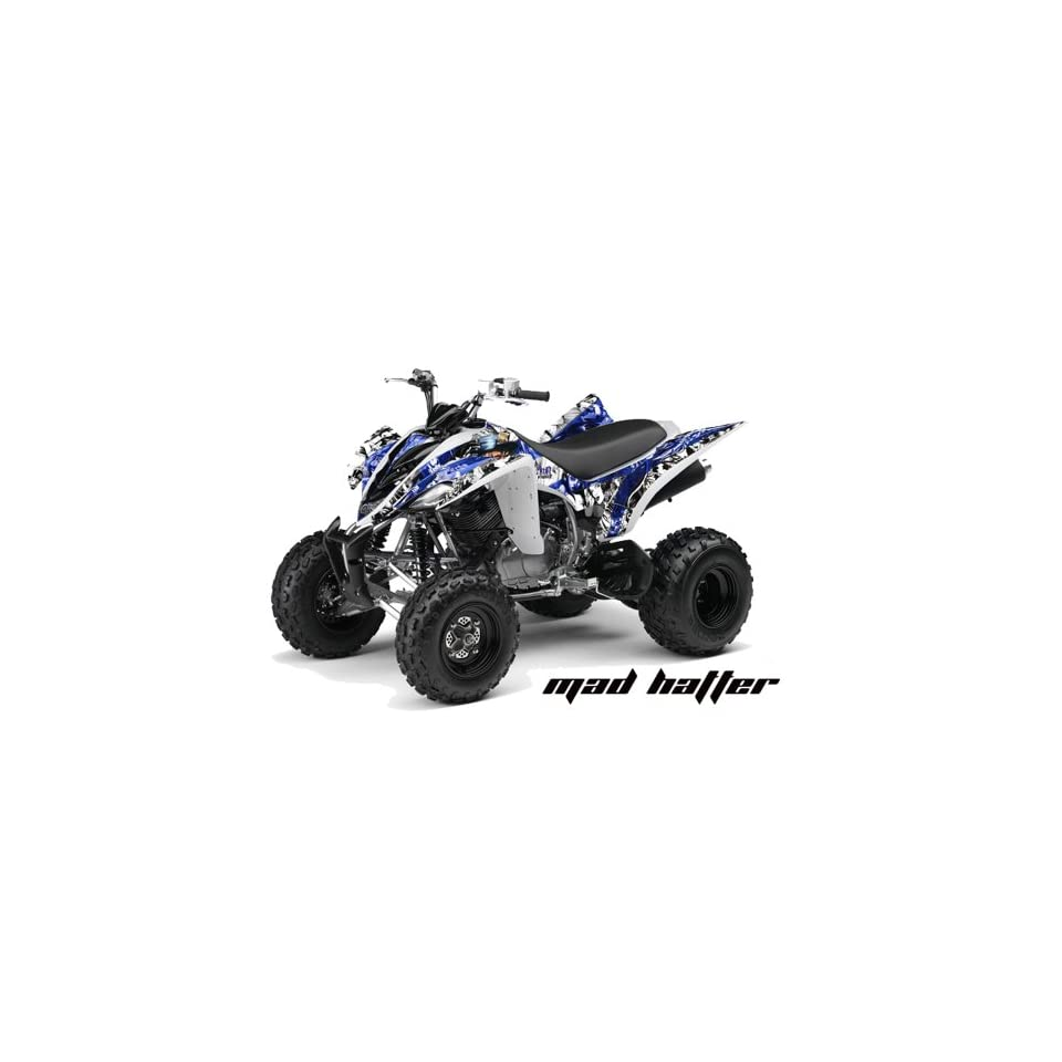 AMR Racing Yamaha Raptor 350 ATV Quad Graphic Kit   Madhatter Blue, White