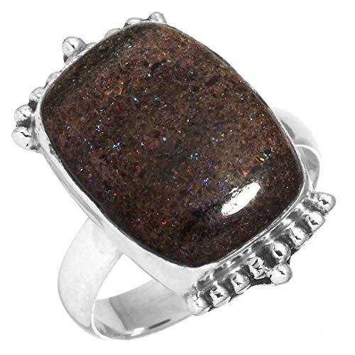 Solid 925 Sterling Silver Latest Jewelry Natural Honduran Black Matrix Opal Gemstone Ring Size 7.5