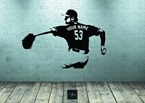 Baseball Jersey Wall Art - Baseball Wall Decal - Wall Art CUSTOM NAME jersey numbers - Baseball bedroom decor - Baseball Player Vinyl sticker - baseball picther kids