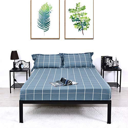 Modern Style Bed Metal Frame Wood Platform with Elastic Slat Support for Box Spring Replacement, Heavy Duty Steel Legs, Box Spring Replacement, Queen Full Twin Black Finish 630 (Full)