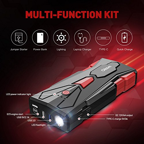 Car Jump Starter, Oittm 1500A Peak Current 15600mAh Car Battery Booster(Up to 8.0L Gas and 6.5L Diesel Engine) Power Bank Portable Charger w/ USB Charge+Quick Charge 3.0+Type-C+12V DC Output+LED Light by Oittm (Image #1)