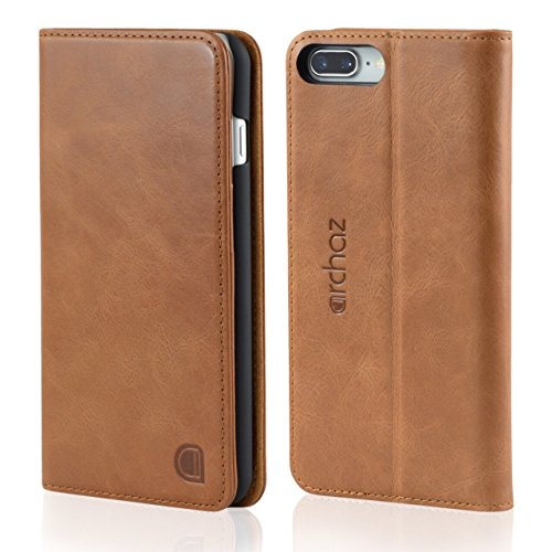 archaz Slim iPhone 8 plus/iPhone 7 plus Leather Case. Premium Italian Leather Case for iPhone 8 Plus/iPhone 7 plus - Magnetic Closure - Adjustable Viewing Stand (tan ()