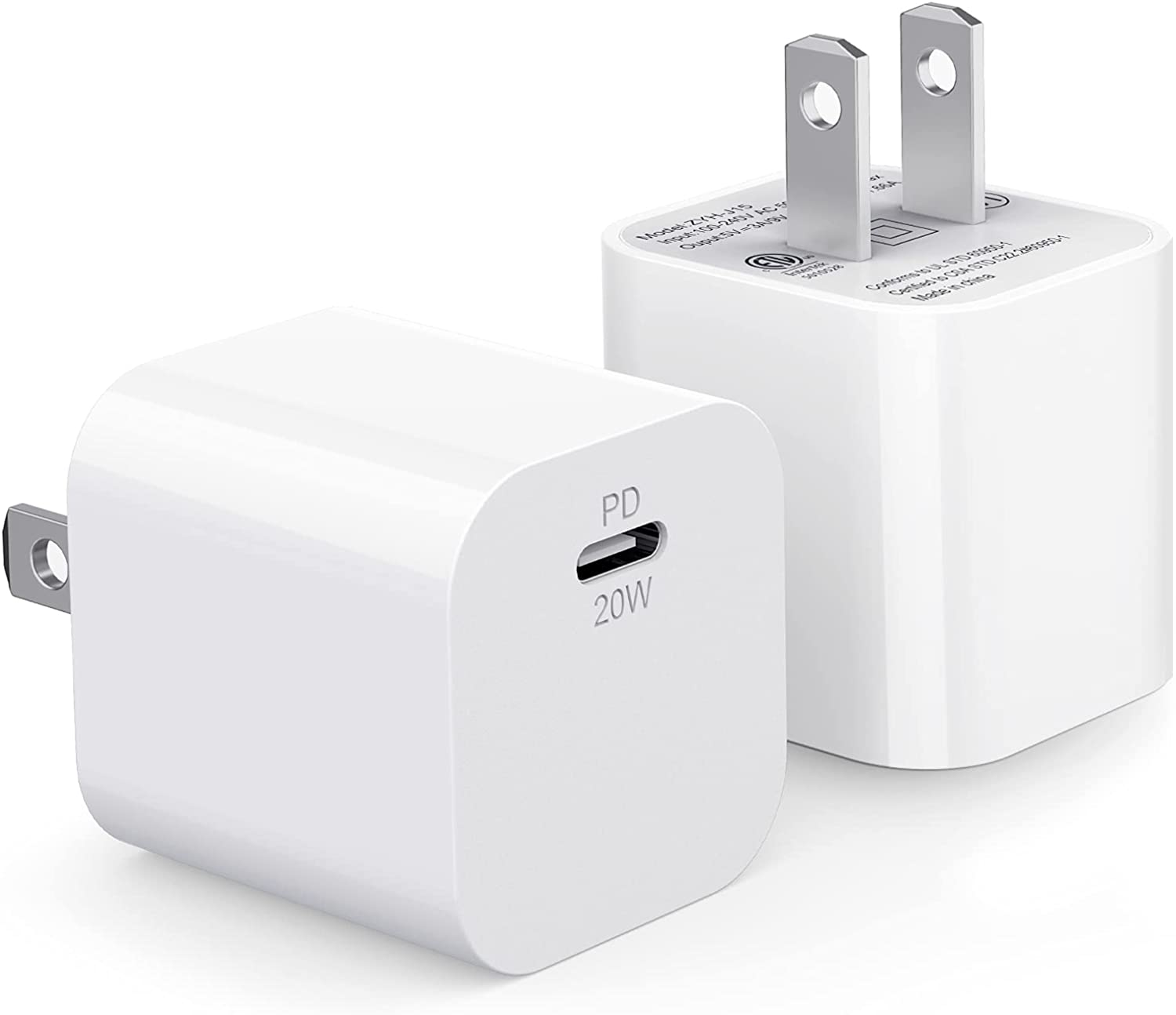 iPhone 12 Charger Fast Block [Apple MFi Certified] USB C Charger 2Pack Mini 20W PD Type C Power Adapter Plug Wall Charging for iPhone 12/12 Pro Max/12 Mini/11/11 Pro/11 Pro Max/SE2/ iPad Pro/iPad Air2