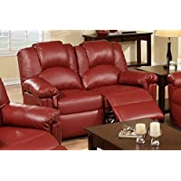 Bobkona Motion Loveseat in Burgundy Bonded Leather by Poundex