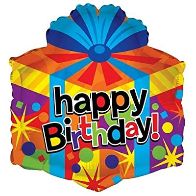 "Kaleidoscope Happy Birthday Gift Box Shape Foil Mylar Balloon , 18"", Pack of 5: Toys & Games"