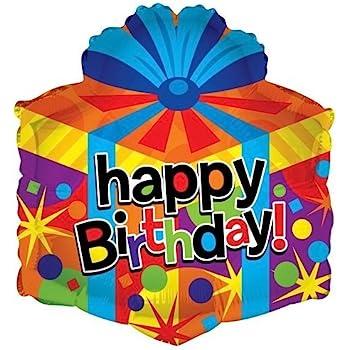 Amazon Com Kaleidoscope Happy Birthday Gift Box Shape Foil Mylar