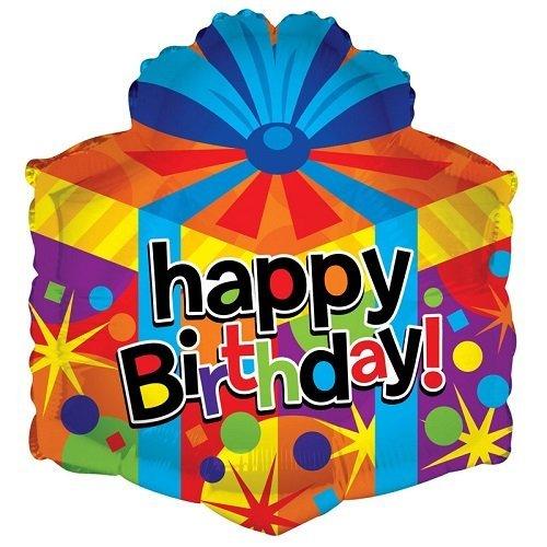 Kaleidoscope Happy Birthday Gift Box Shape Foil Mylar Balloon , 18, Pack of 5