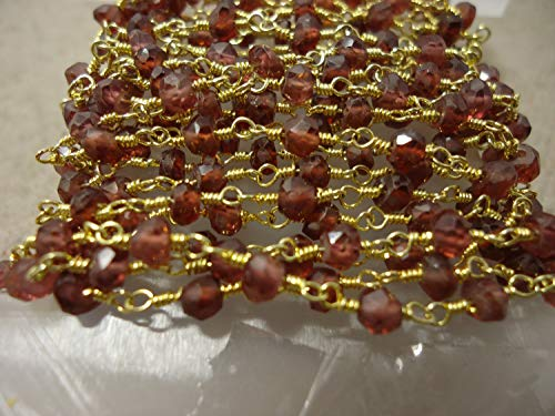 - 5 Feet Garnet Gemstone Beaded Chain, Red Colour Gemstone Faceted Roundelle Beads Bulk Chain Spools Wholesale Rosary Beaded Chains by LadoNarayani