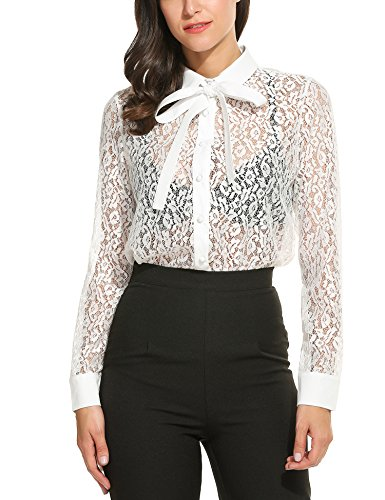 Floral Lace Tie - Zeagoo Lady's Floral Lace Shirt Long Sleeve Work Bow Knot Necktie Blouse Tops ,White ,Medium