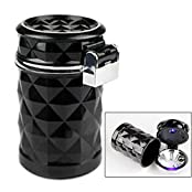 Elison-Portable Auto Vehicle Car Cigarette Ashtray Smokeless Tobacco Tray with Lid and Blue LED Light Black