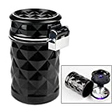 Portable Auto Vehicle Car Cigarette Ashtray Smokeless Tobacco Tray with Lid and Blue LED Light Black