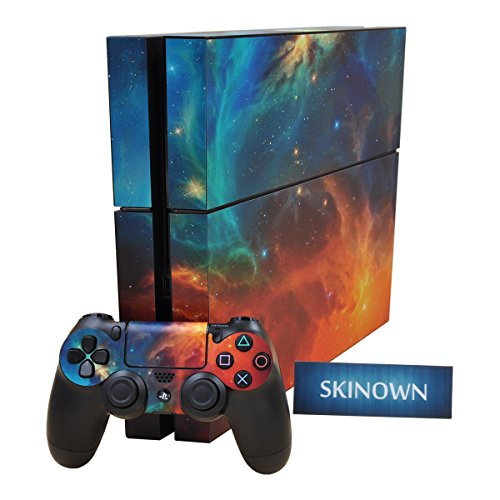 SKINOWN PS4 Skins Galaxy Cosmic Nebula Sticker Vinly Decal Cover for Sony PS4 PlayStation 4 Console and Controller (Flame Design Faceplate Cover Accessory)