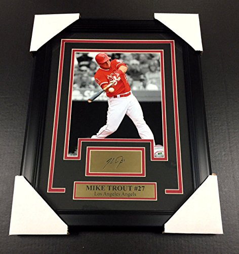 Angeles Los Angels Photograph (MIKE TROUT LASER ENGRAVED SIGNATURE REPRINT FRAMED 8X10 PHOTO LOS ANGELES ANGELS)