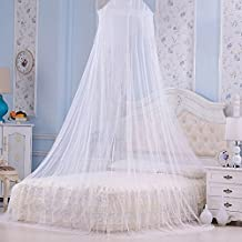 Scorpiuse Mosquito Net Bed Canopy Netting White Sheer Lace Dome Round Hoop for Crib Full Twin Queen King Size Bed