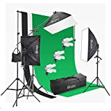 Photo Master Photography Lighting Kits for Video Studio Includes Includes Background, Boom, Stands, Softboxes, Socket Heads, 12x 45W Bulbs,Carrying bag