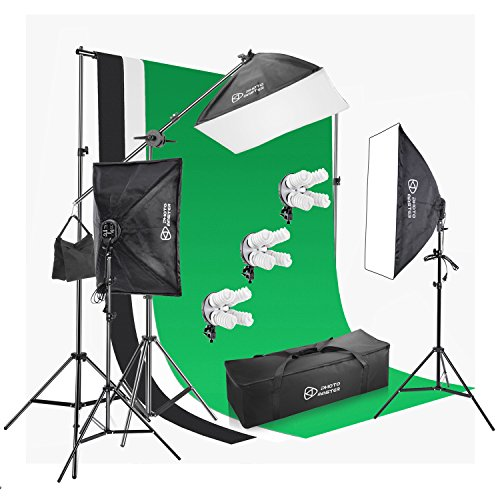 - Photo Master Photography Lighting Kits for Video Studio Includes Includes Background, Boom, Stands, Softboxes, Socket Heads, 12x 45W Bulbs,Carrying Bag
