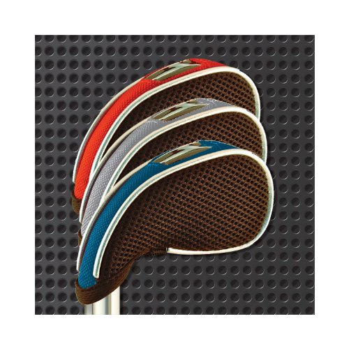 WeatherWick Golf Club Iron Head Covers - Universal Fit for Most Irons and Wedges by Callaway, Taylormade, Nike, Titleist, Ping, Mizuno, Cobra, and Cleveland (Set of 8 Head Covers)