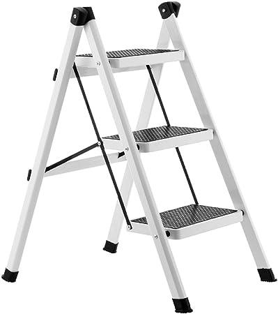 Li jing home Escalera Escalera Plegable de 3 Capas Escalera doméstica Taburete de Escalera Simple de 3 Pasos Escalera de Hierro de Uso Múltiple Plegable Fácil de Llevar (Color : Blanco): Amazon.es: Hogar