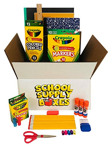 Back To School Supply Box Grades K-5 - School Supply Kit Back To School Essentials - 32 Pieces - Includes Markers, Crayons, Pencils, Scissors, Folders, Glue Sticks, Notebook, and Composition Notebook