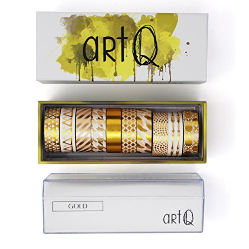 Washi Tape Foil Set [10 rolls] - 330 Feet Long - Acrylic Organizer and Dispenser Box - Metallic Washi Tapes - Colorful Craft Tape - Adhesive Decor Masking Tape with Gift Box by ArtQ - Gold