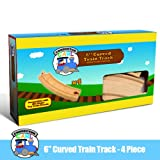 """4-piece 6"""" Curved Wooden Train Track Value Booster Pack - Compatible with All Major Toy Train Brands by Conductor Carl"""