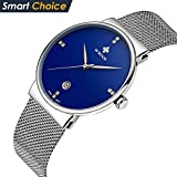 Men's vintage Ultra Thin Quartz Wristwatch coupons for Stainless Steel mesh strap Elite Casual Date Business Watches W0009