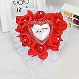 bgblgf M Romantic Rose Wedding Ring Cushion Heart Ring Pillow Foam Cake Jewelry Box, Red, 1818cm