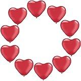 Blesiya 10個入り ラテックス 風船 ラブハートデザイン 感謝祭 結婚式 誕生日パーティー 壁 窓 装飾 全6色 - 赤