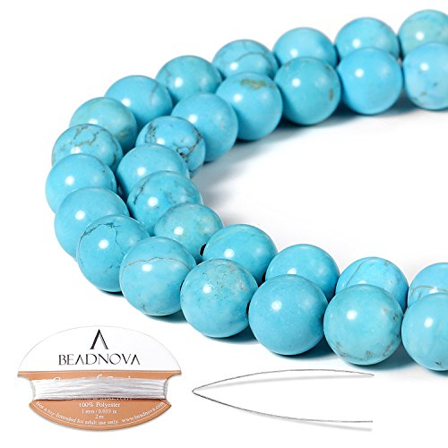 BEADNOVA 8mm Blue Turquoise Gemstone Round Loose Beads for Jewelry Making (45-48pcs) ()
