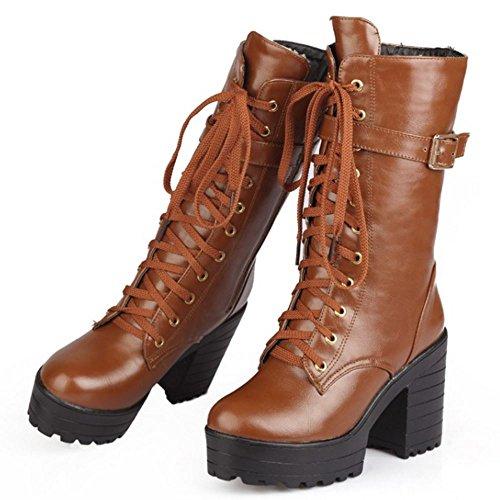 Brown Boots KemeKiss Zipper Women Chunky Sole 4AxX7qa
