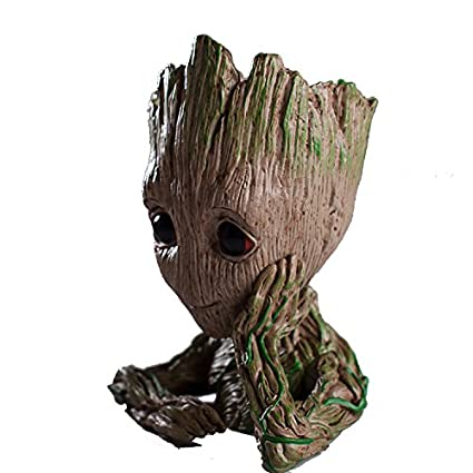 Generic Giftoye Classy And Cute Guardians Of The Galaxy 2 Baby Groot Holder Flower Pot Wooden Look Replica Toy Gift Item