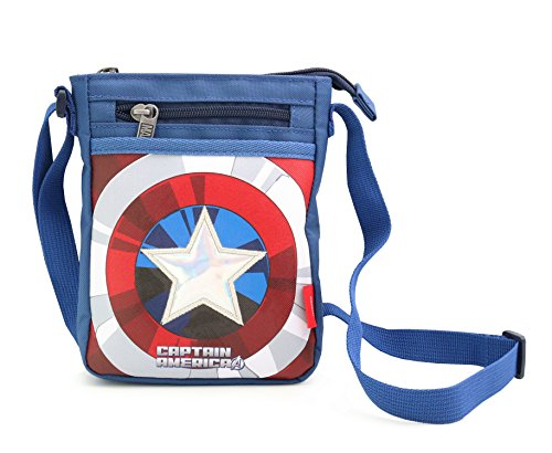 MARVEL HERO Spiderman Avengers Ironman Captain Cross Body Bag Messenger Shoulder Phone Bag (Blue Captain)