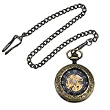 Zeiger New Mens Classic Mechanical Steampunk Pocket Watch Stainless Steel Copper Case Skeleton Roman Design Pocket Watch with Chain (Black)