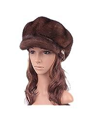 UK.GREIFF Women's Adjustable Mink Fur Winter Hat Newsboy Caps
