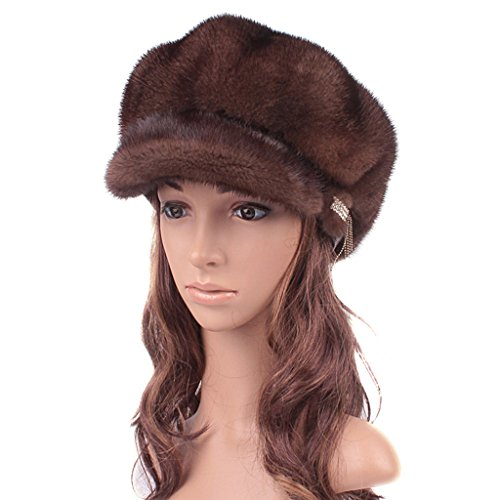 UK.GREIFF Women's Adjustable Mink Fur Winter Hat Newsboy Caps Brown by UK.GREIFF