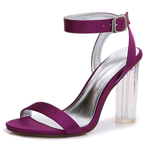 L@YC Frauen Hochzeit Schuhe Kristall rau mit D-2615-14 Frühling Sommer Satin Braut Peep Toe & Nacht Büro & Karriere Purple