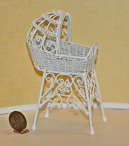 Dollhouse Miniature Victorian White Wire Bassinet