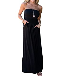 54fa9fabb8 Ofenbuy Womens Off The Shoulder Maxi Dresses Summer Strapless Bandeau Long  Dress with Pockets