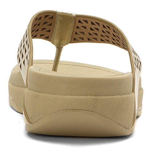 Fitflop Leather Lattice Surfa - Sandalias Mujer dorado claro