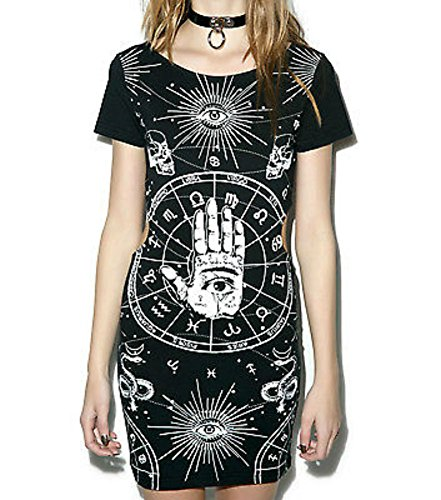 [Jawbreaker Gothic Illuminati Bewitched Hand Black Dress (XL)] (Witch Dresses)