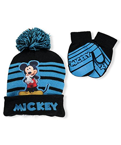 Hats For Toddler Boys (Disney Mickey Mouse Striped Winter Beanie Hat and Mitten Set - Size Boys 2-5)