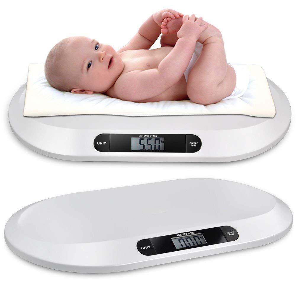 OUBAYLEW Báscula plana digital para bebés hasta 20kg, Balanza digital con pantalla LCD y tallimetro: Amazon.es: Bebé