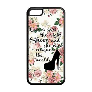 Vintage Floral Give A Girl The Right Shoes And She Can Conquer The World Rubber Cell Cover Case for iPhone 5C,5C Phone Cases