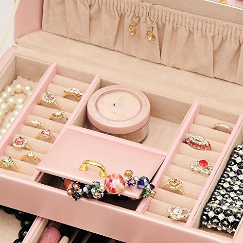 The Muse's Magic box Jewelry Box Watch Storage Organizer w/ Lock Mirror and Mini Travel Case , White by The Muse's Magic box (Image #1)