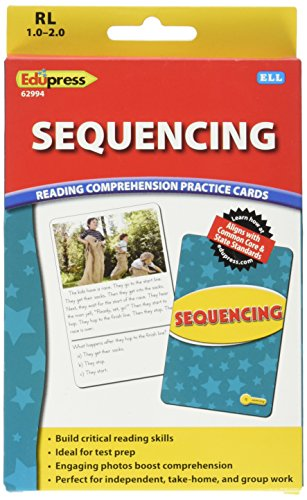 Edupress Reading Comprehension Practice Cards, Sequencing, Yellow Level (EP62994) (Elementary Drawing Conclusions)