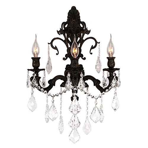(Worldwide Lighting W23316F17 3-Light Versailles Wall Sconce with Clear Crystal, 17 x 24 x 10