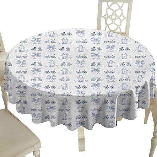 Round Tablecloth Bicycle,Dutch Ornament Drawings in Blue Windmill Narrow House Bicycle Topiary Tree,White Night Blue D36,for Cards (Card Topiary)