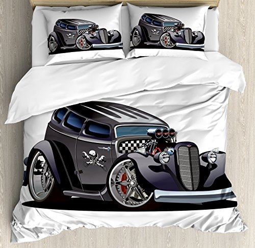 Hot Rod Skull (Boy's Room Duvet Cover Set Queen Size by Lunarable, Classic Hot Rod Car Fashion with Skull Pattern Angry Furious Gesture Graphic, Decorative 3 Piece Bedding Set with 2 Pillow Shams, Charcoal Grey)
